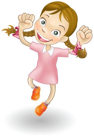 Une illustration d'une jeune fille caucasienne de sauter de joie