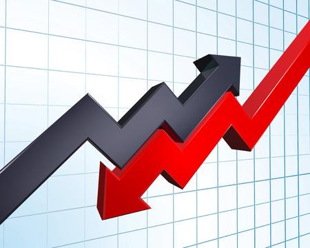 Ilustracja strzałki wskazujące zysków i strat na wykresie Ilustracje wektorowe