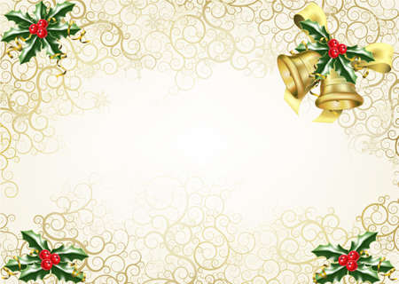 beautiful abstract Christmas background concept with holly and bells photo