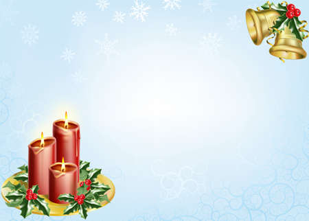 a christmas background with candles, bells and holly. photo