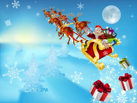 an illustration of santa in his xmas sled or sleigh, delivering his christmas gifts to everyone illustration