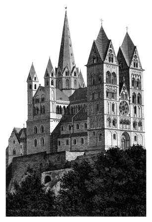 Limburg Cathedral Church (Dom). Wonderfully detailed reproduction of a woodcut woodblock print scanned and lovingly restored from an 1885 edition of Geschichte der Deutschen Kunst (Art Illustrated) volume 1 from the up-loaders personal archive.