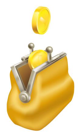 Gouden munten te laten vallen in een portemonnee. Concept, het besparen van geld; verandering terug te krijgen.