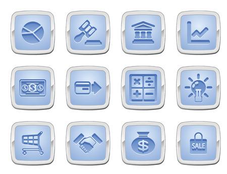 Ilustración de un conjunto de iconos de internet de negocios y finanzas