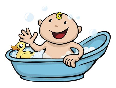 Illustration Clipart d'un bébé mignon heureux jouant dans la baignoire avec un canard en caoutchouc