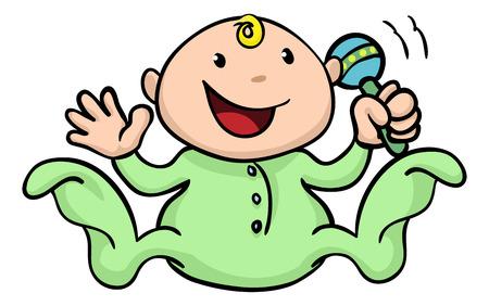 ClipArt illustrazione di un bambino carino felice di giocare con il suo sonaglio e sventolando