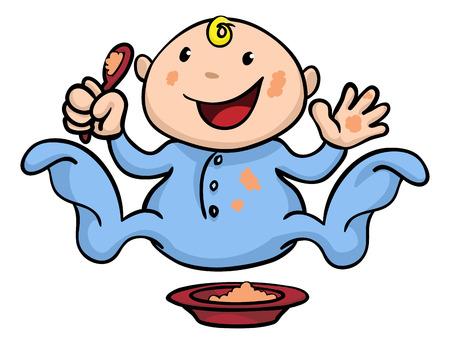 Illustration Clipart d'un bébé mignon heureux sevrage jouer et manger ses aliments Banque d'images - 8600694