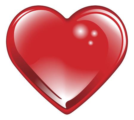 孤立した光沢のある光沢のある赤いバレンタインデー ハート。ロマンチックな愛の古典的なシンボルです。