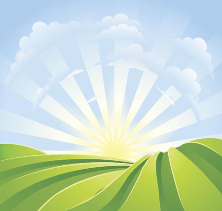 Ilustración de campos verdes idílicos con rayos de sol y cielo azul. Una escena de paisaje perfecto.