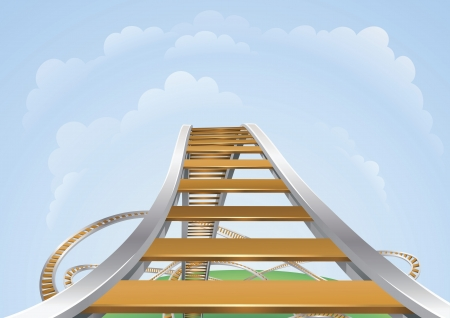 Illustration of a roller coaster from the highest view. Conceptual highs and lows or fear and trepidation. Vektoros illusztráció