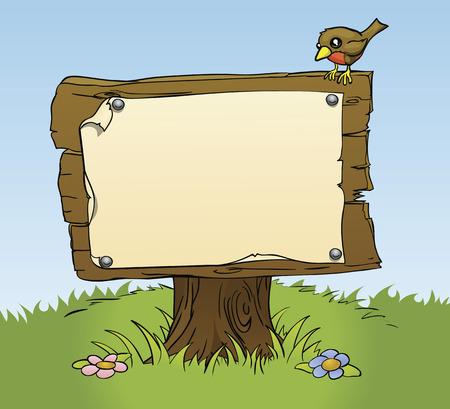 Una ilustración de un signo de madera rústica con espacio de copia para su propio texto. Rodeado de un ave y flores para una escena de bosque perfecta