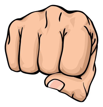 een illustratie van een vooraanzicht van een recht menselijke hand ponsen naar u de viewer