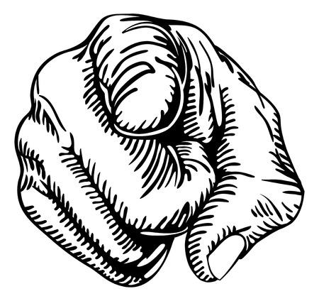 een zwart-wit afbeelding van een menselijke hand met de vinger wijzen of gebaren naar u.  Vector Illustratie