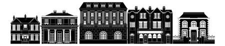 Een zeer slimme dure luxe rij van Georgische, Edwardian en Victoriaanse huizen en andere gebouwen