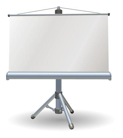 Una pantalla en blanco de rodillos de presentación o proyector