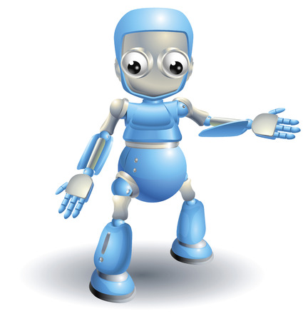 A cute blue robot character showing the viewer something with a hand gesture Stock Vector - 8898304