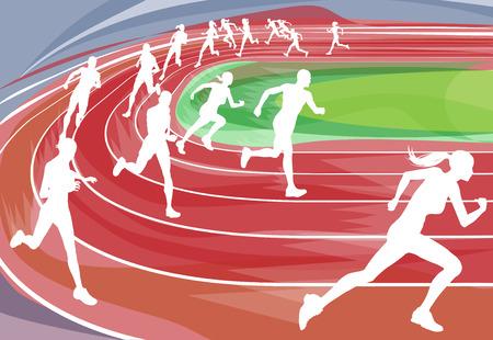 Fondo de ilustración de corredores entraban en una carrera alrededor de la pista