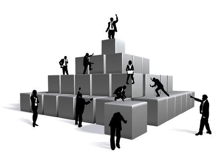 Concettuale pezzo. Gli uomini d'affari con i blocchi di costruzione
