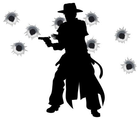 野生の西の殺し屋の図面と、バック グラウンドでの銃弾の穴で銃撃戦で彼の銃を発射