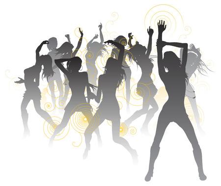 Ilustración de fondo con siluetas de mujeres hermosas sexys bailando Ilustración de vector