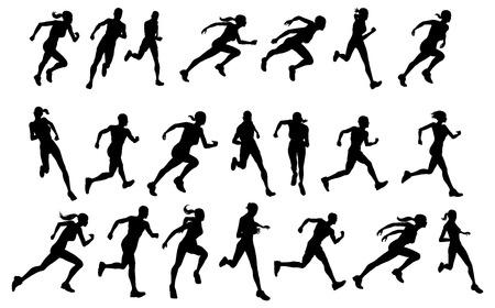 Conjunto de siluetas de atléticos corredores masculinos y femeninos de aspecto ejecutando