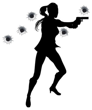 Female action hero standing and shooting in film styleshoot out action sequence. With bullet holes.