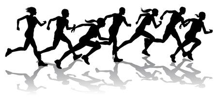 Silhouette grupa biegaczy wyÅ›cigi z odbicia