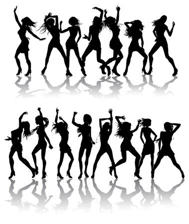Silhouettes of beautiful women dancing with silhouettes
