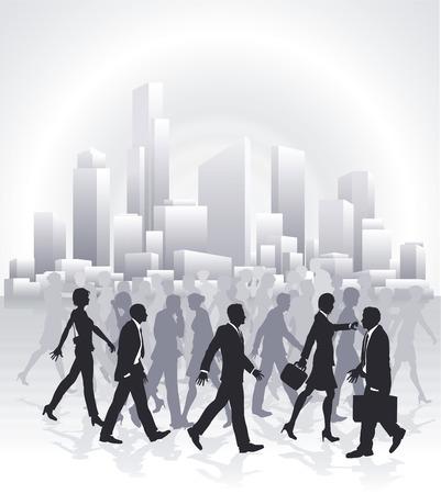 Grupos de empresarios corriendo delante de ciudad
