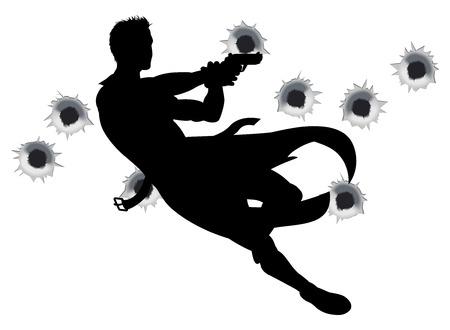 アクション ヒーローは空気を通って跳躍し、映画スタイルの銃戦いアクション シーケンスで撮影します。弾痕。  イラスト・ベクター素材