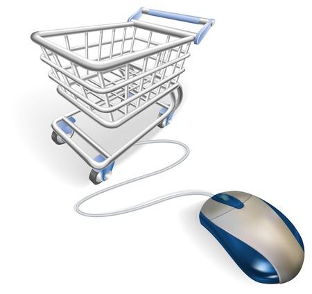 Un ratón conectado a un carrito de la compra. Concepto de compras en línea de internet. Ilustración de vector