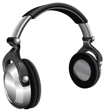 Una ilustración vectorial de un gran par de auriculares de música. Ilustración de vector