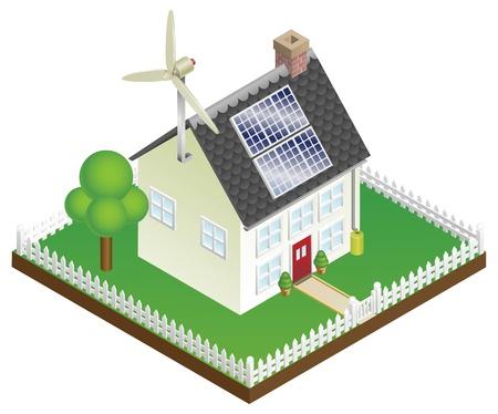 Un'illustrazione di una casa sostenibile a energia rinnovabile con pannelli solari e turbine eoliche
