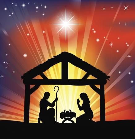 Illustratie van traditionele christelijke Kerstmis kerststal  Vector Illustratie
