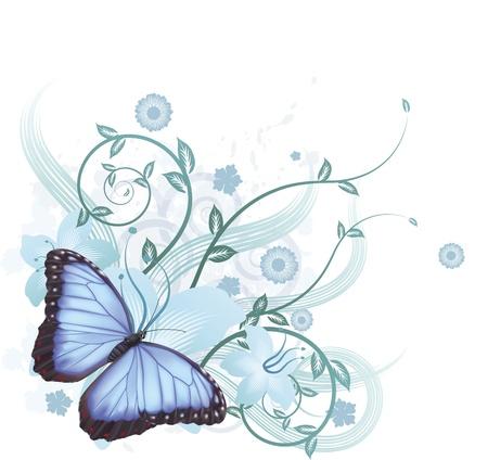 Mooie bloemen achtergrond met hibiscus bloemen en Blauwe Morpho Peleides butterfly
