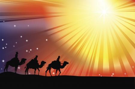 The three wise men crossing the desert following the star of Bethlehem in Christmas Nativity scene Stock Vector - 9186575