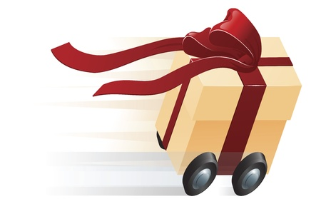 A very fast gift zooming along on wheels. Concept for shipping, fast delivery or gift wrapping.