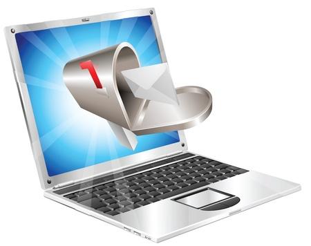 Lettre et boîte aux lettres s'envoler d'illustration concept de portable écran.