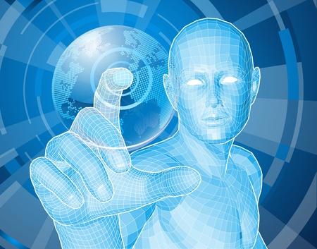Concepto de fondo de estilo corporativo. Figura azul futurista seleccionando un globo flotante del mundo.