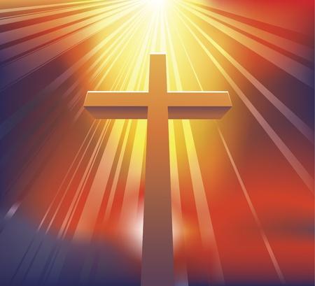 Een ontzagwekkende dramatische christelijke kruis badend in licht