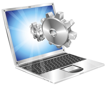 Gear cogs flying out of laptop screen tune up or settings application concept illustration. Vektoros illusztráció