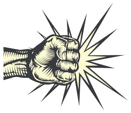 Un poing poinçonnage en grève ou en frappant avec des lignes d'impact