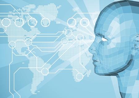 Contexte corporatif avec carte face et le monde en arrière-plan. World travel, communication ou un concept de réseau internet.