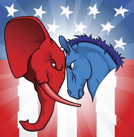 De democratische en Republikeinse symbolen van een ezel en de olifant geconfronteerd af.  Vector Illustratie