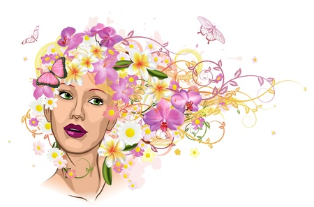 Beautiful woman with hair made of flowers with butterflies.