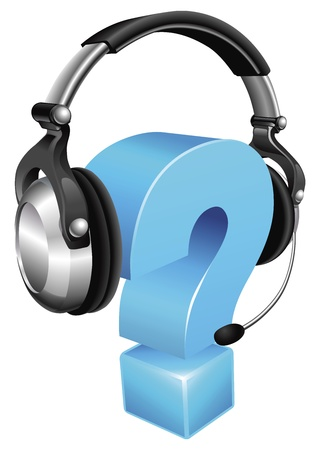 Question mark wearing a phone headset concept for call centre or online support Ilustracja