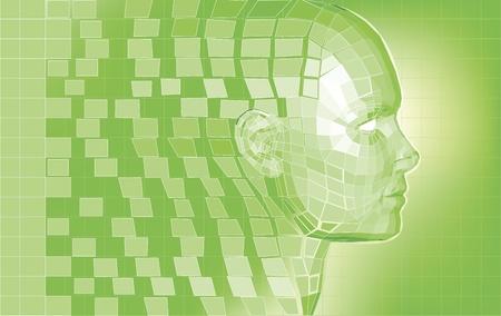 Futurista 3D cabeza formando de polígono piezas fondo