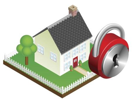 Home security systeemconcept, suburban familiehuis en hangslotpictogram