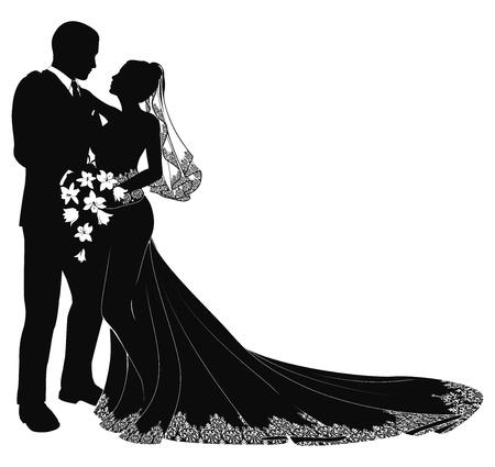 Una novia y el novio en el día de su boda a besar en silueta