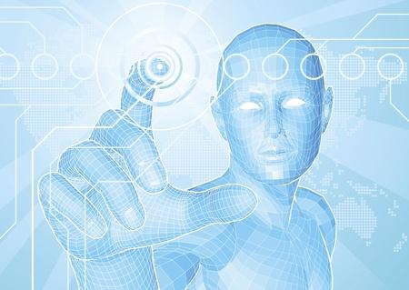 Concepto de fondo de estilo corporativo. Figura azul futurista tocar el botón con el mapa mundial en segundo plano. Ilustración de vector